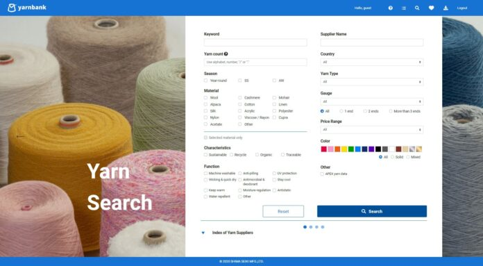 yarnbank allows users to browse yarns from all over the world. © Shima Seiki.