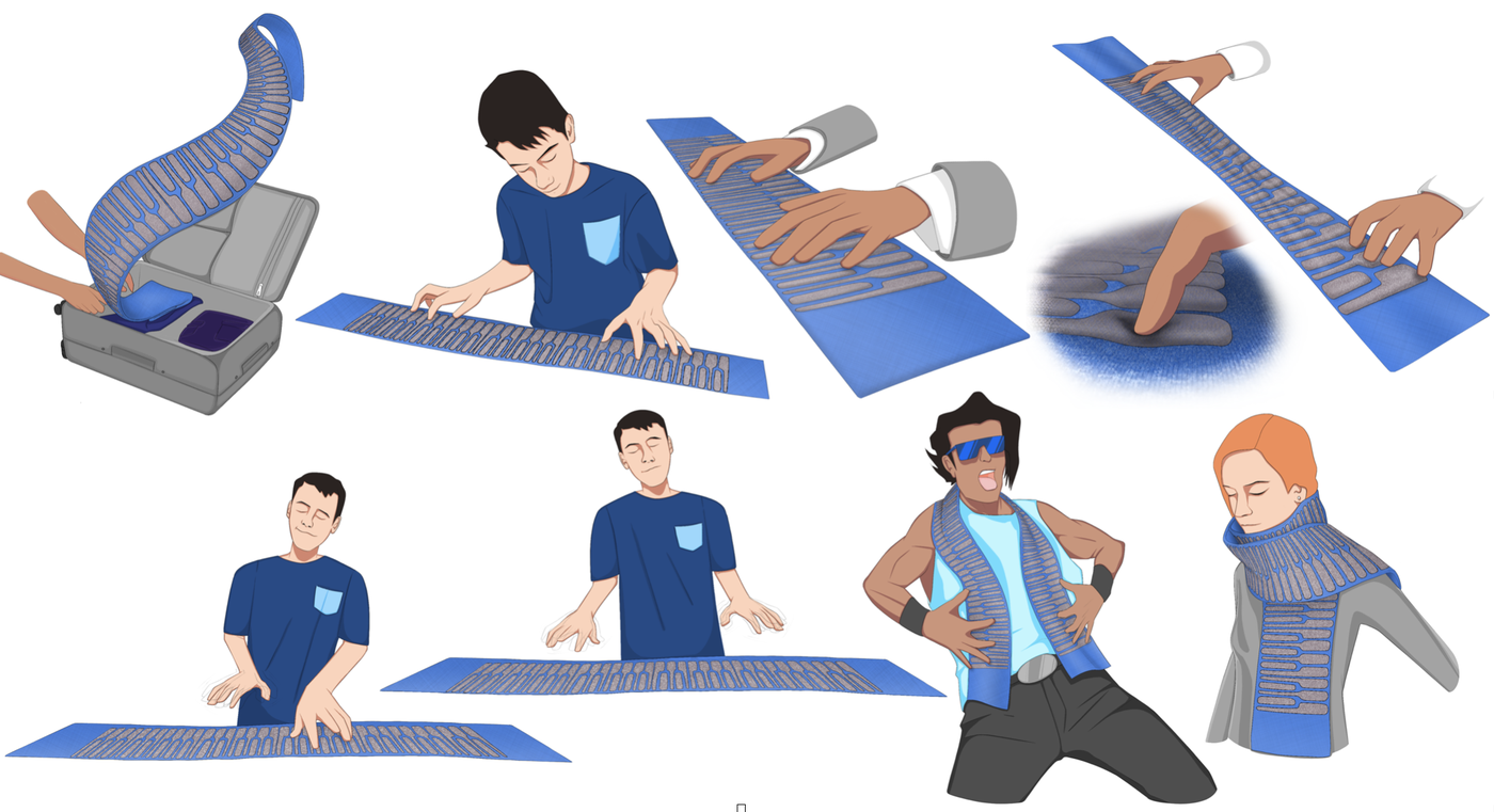 Illustration of the flexibility, stretchability, and wearability of KnittedKeyboard II along with its multitude modes of play. © Irmandy Wicaksono