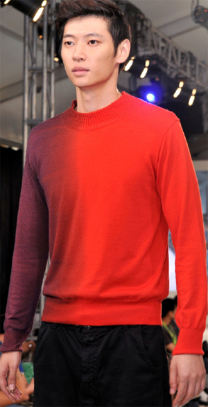 Sweater knitted on Santoni SM6 RIB2 machine