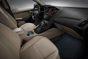 Interior of the new Ford Focus Electric with Repreve seating fabric
