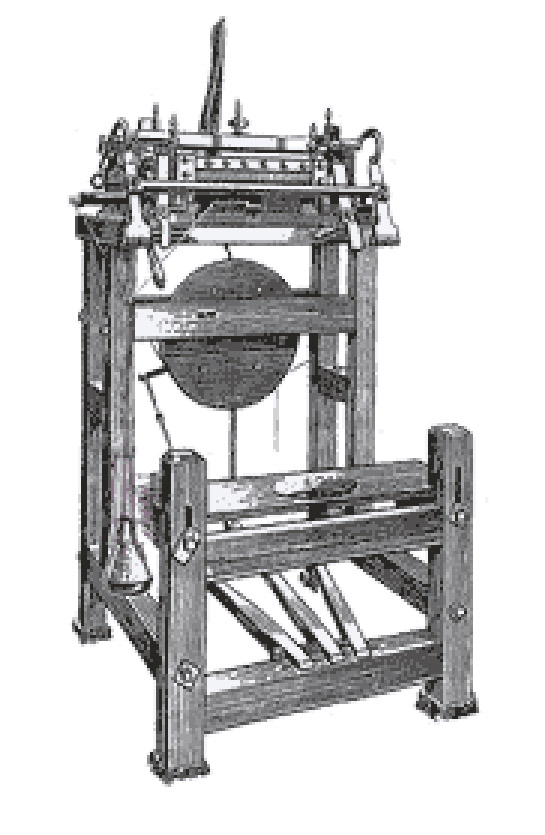 William Lee invented the stocking frame in 1589 - machines like this were used by GH Hurt to manufacture lace shawls until very recently.