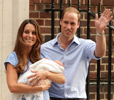 The Duke and Duchess of Cambridge outside the Lindo Wing of St Mary's Hospital in Paddington following the birth of their son, 23 July 2013. © Press Association.