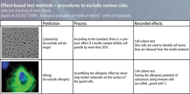 Effect-based test methods - process for excluding various risks. © Hohenstein Institute
