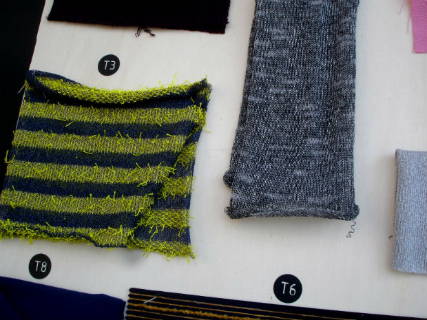 There were surprising fibre mixtures: Knitwear with sparkle came from Linsieme Filati with points of light in soft blended cashmere/wool with polyamide and Elastane. © Janet Prescott