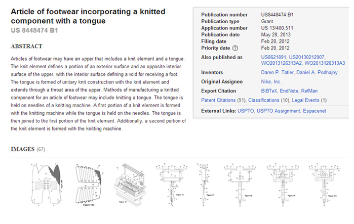Nike has had a number of patents published and granted for its flat knitted Flyknit technology.