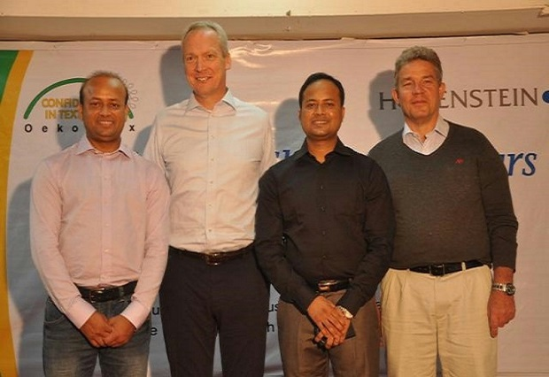 (From left to right): Muhammad Kamruzzaman (Kamrul), Country Manager Hohenstein Institute Bangladesh, Prof. Dr. Stefan Mecheels, Director of the Hohenstein Institute Group, Muhammad Zahirul Islam (Zaheer), Head of Inspection Service, Jörg Diekmann, Sales Manager International. ©Hohenstein Institute