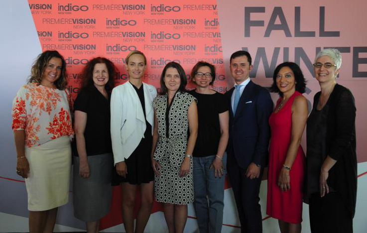 From left: Melissa Joy Manning (jewellery designer and member of CFDA Sustainability committee), Sharon Graubard (moderator, fashion visionnaire), Amber Valletta (fashion icon, actress, Yooxigen Ambassador), April Crow (global sustainability director at the Coca Cola company), Giusy Bettoni (C.L.A.S.S. Ceo and founder), Guglielmo Olearo (Premiere Vision international director), Rossella Ravagli (head of corporate sustainability and responsibility of GUCCI), Inka Apter (manager of fabric R&D at Eileen Fisher). © Stephane Kossmann