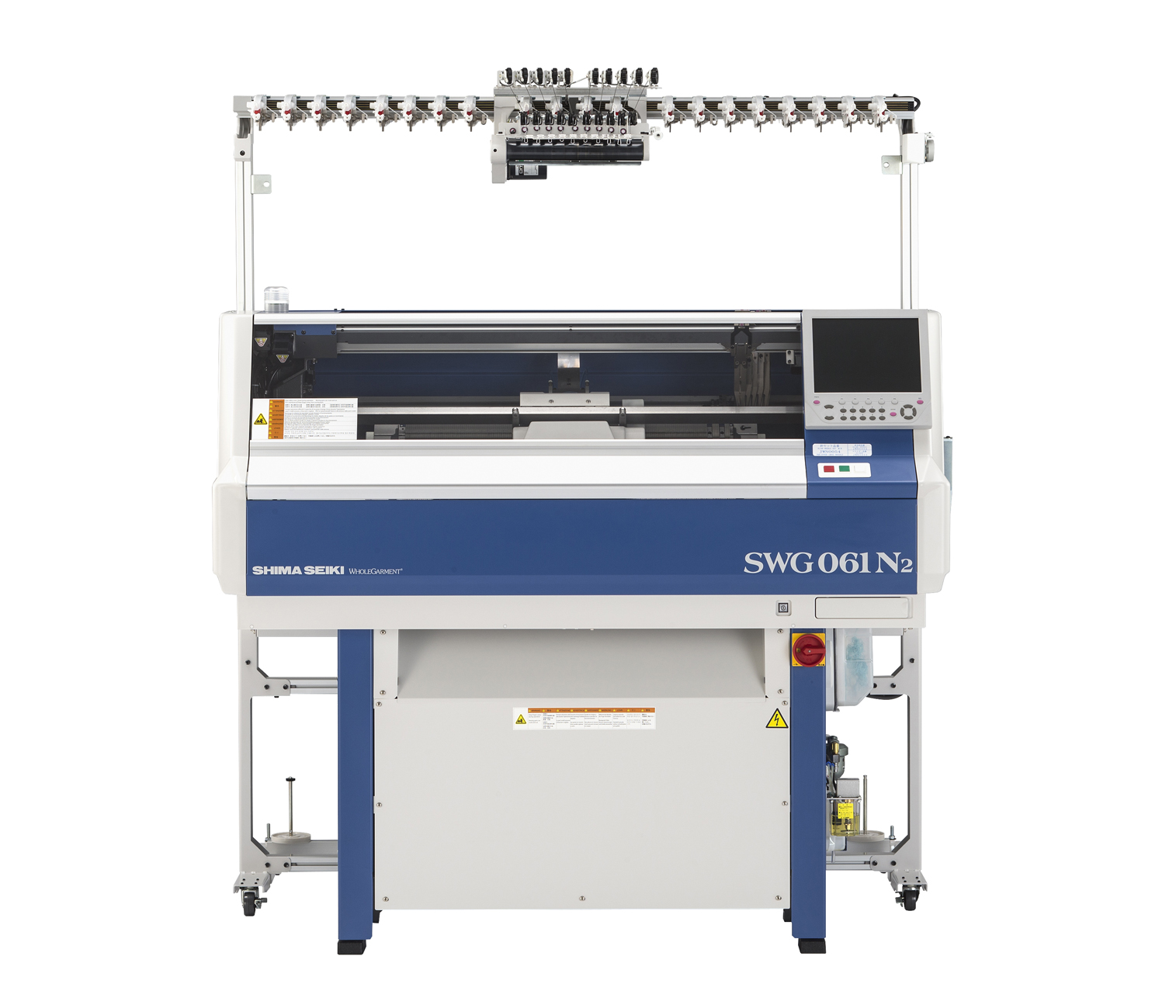 The company's new SWG061N2 compact Wholegarment knitting machine excels in the production of small knitted garments and accessory items in one entire piece without the need for sewing or linking afterward. © Shima Seiki