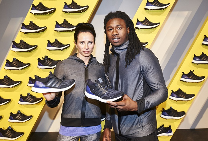 The company launched Ultra BOOST with the help of athletes Sammy Watkins, David Villa, Yohan Blake, Wilson Kipsang, Jenn Suhr, Tori Bowie and Ajee Wilson. © adidas