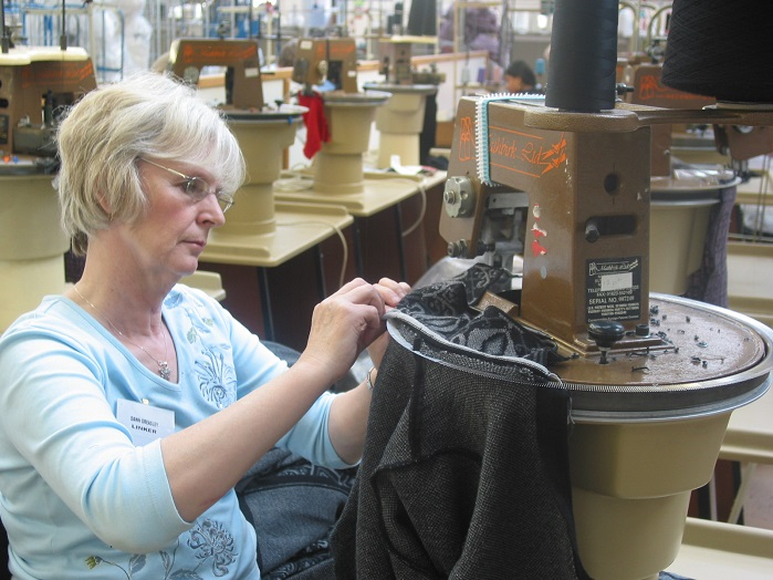 Linking knitwear at Jack Masters in Leicester.