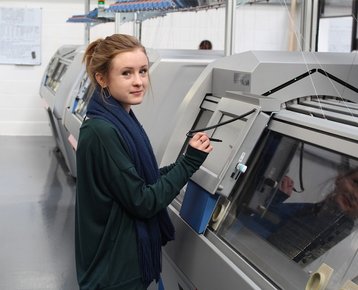 Jess, a recent 21 year old graduate from Middlesex and Brighton Universities supervises the knitting department where the company has made a big investment in advanced Stoll flat knitting machines.