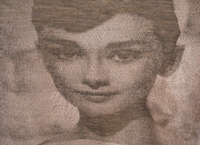 Pixel-by-pixel jacquard depicting a Hollywood movie icon for a leading French design house knitted on Shima Seiki SWG-FIRST124S21.