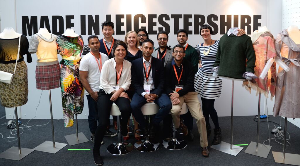 Left to right: Ashiq Uddin, Insanity Clothing; Minh Phan, Melton Mowbray Leather Goods; Ria Pellington, Leicestershire Textiles Hub; Kate Hills, Make it British; Mairaj Khan, Insanity Clothing; Abdul Bathin, Leicestershire Textiles Hub; Bhav Mandalia, Crown International; Bhavik Master, Jack Masters; Snahal Patel, Jack Masters; and Zoe Lem, fashion designer. © Leicestershire Textiles Hub