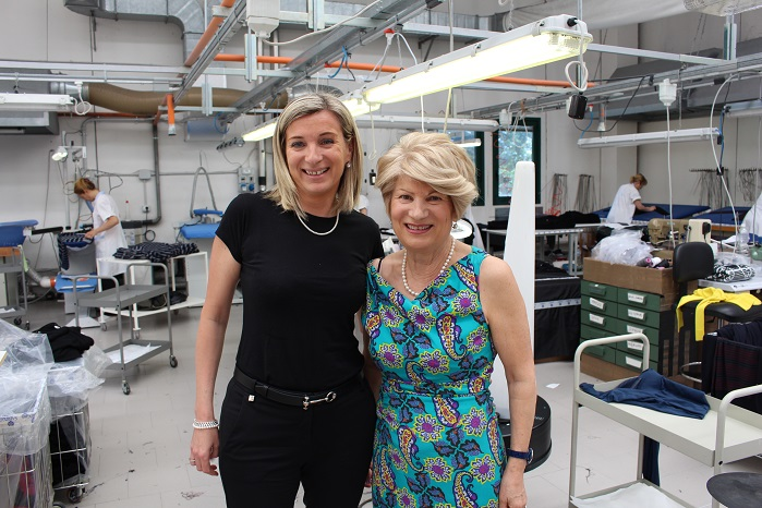 Sabrina Storani (left) with mother Antonietta Storani at Sabry Maglieria's factory in Montefano.