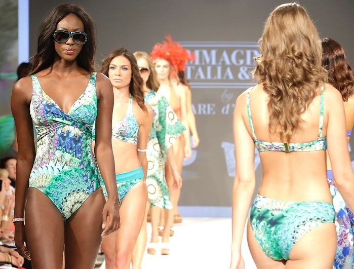 The 2016 beachwear colour trends outlined by the Anglo-Indian guru David Shah for the partner trade fair Maredimoda Cannes can be summarized into four main themes: Jungle Fever, Rave Couture, Memphis Sport, and Brutal Glam. © Mare d'Amare