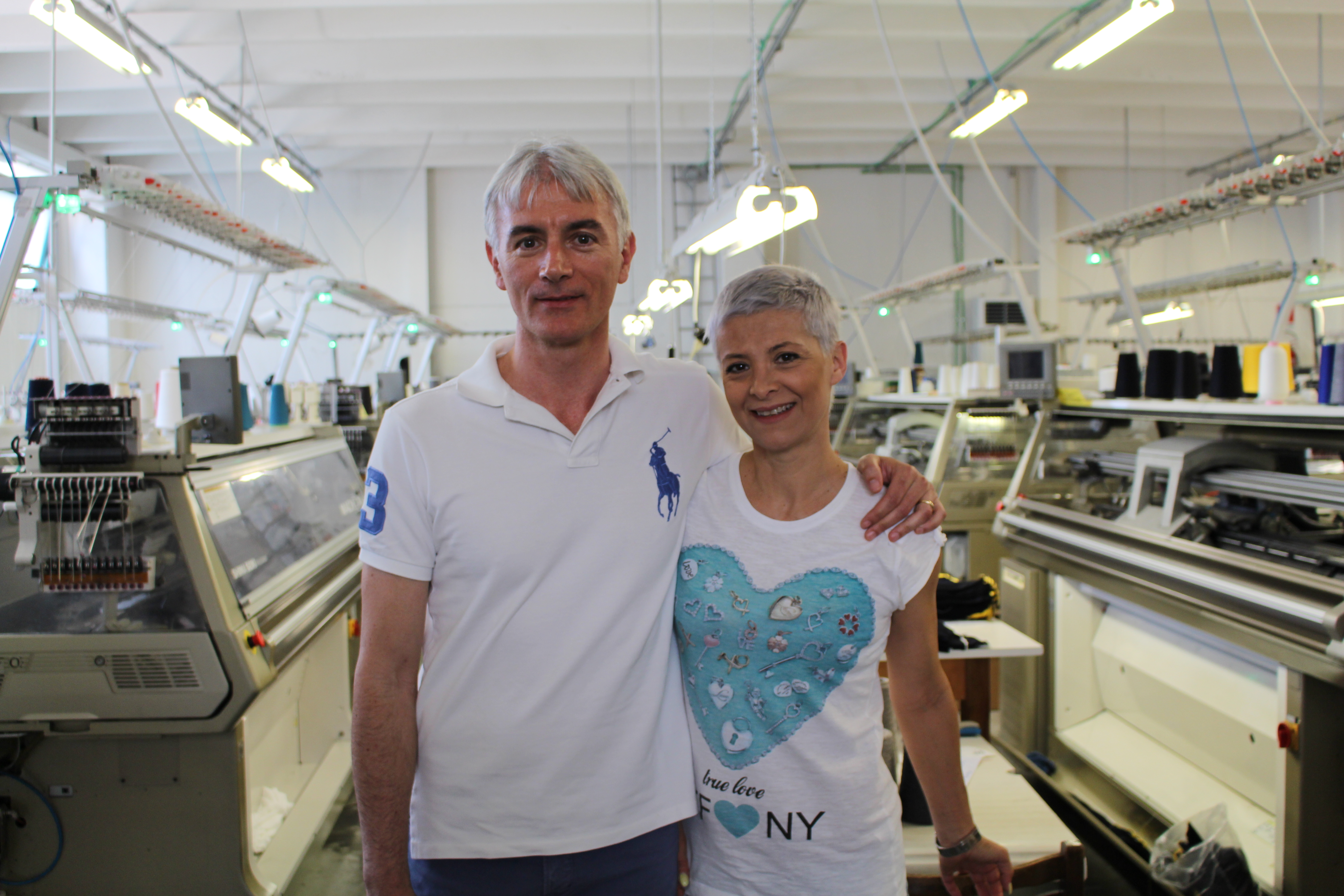 Sergio Storani with wife Rosanna at New Esse Maglieria's factory in Montefano.