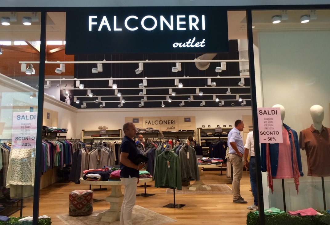 Falconeri brand retail outlet at the New Twins site in Avio.