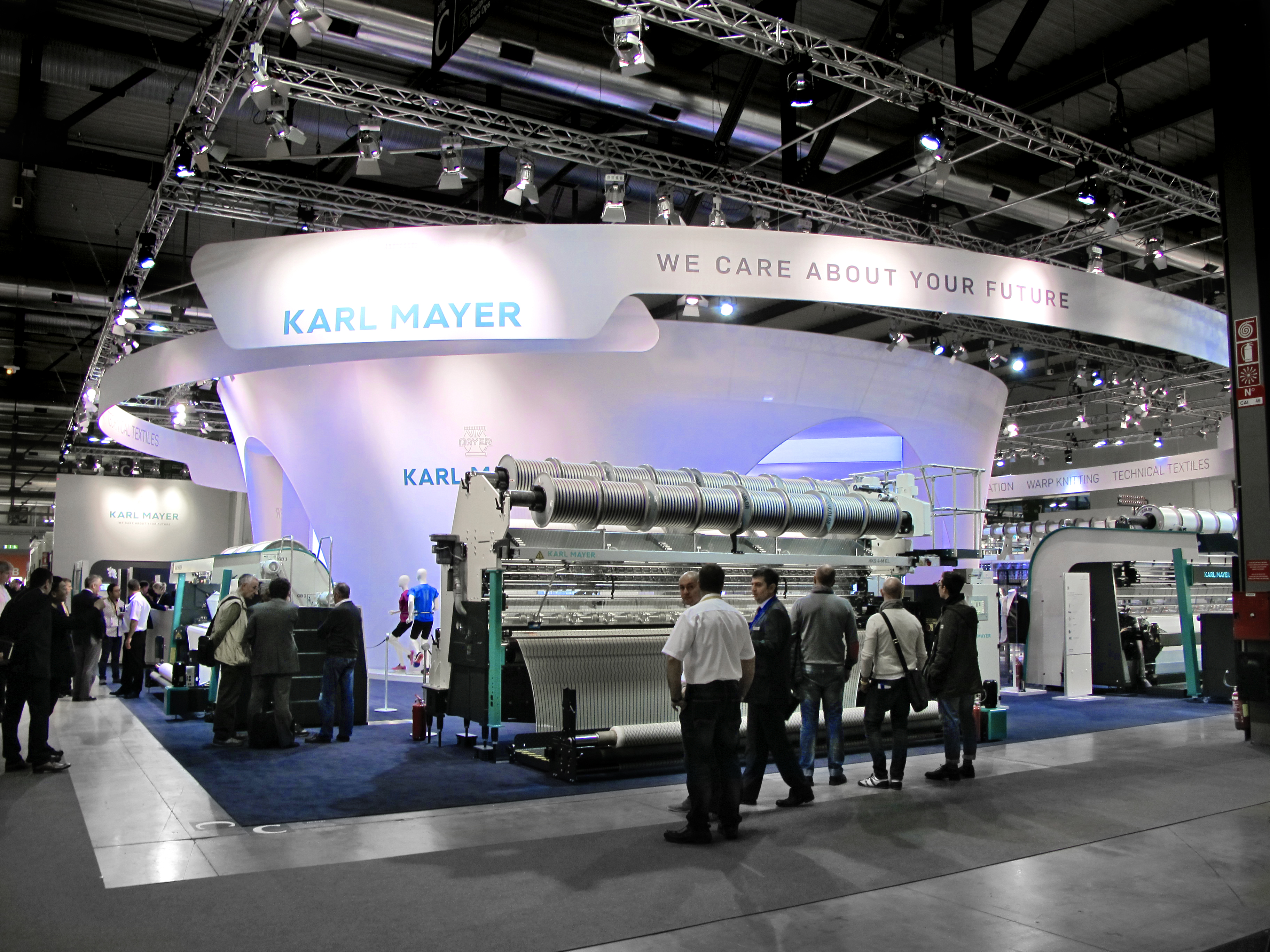 Impressive and visible from a distance – Karl Mayer's stand at ITMA. © Karl Mayer