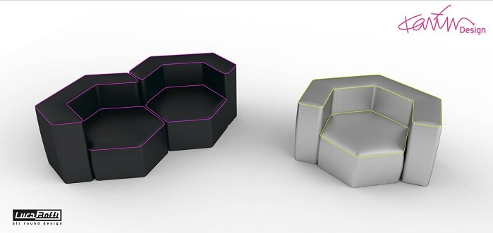 For The Sensitive Design project, Karim Rashid designed HEK, a new seat featuring a hexagonal base. © Eurojersey