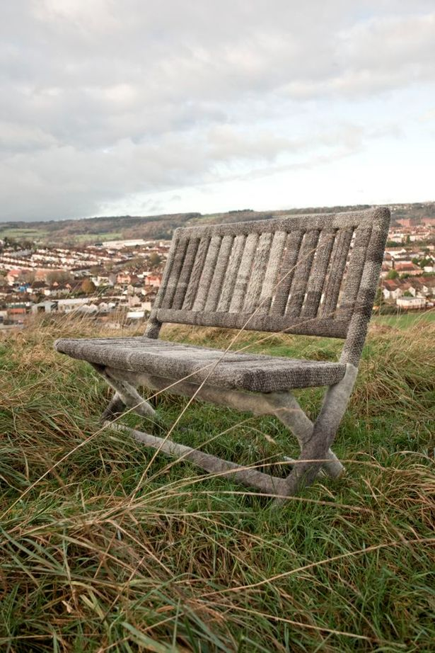 Knitted bench, a part of the Yarning project. © Birmingham Mail