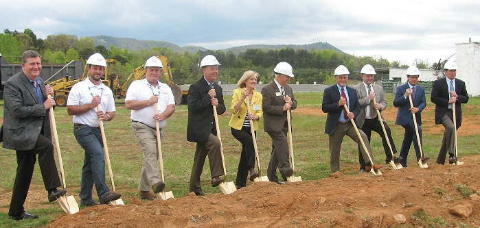 From left to right:  Alan Wood, CEO of Burke Development, Inc; Talmadge and Chuck Strickland of  Strickland Construction (the company hired to build the plant); Stephen Hudson, Vice President of Operations at MSYG; Valdese Mayor Pro Tem Susan Stevenson; Burke County Commissioner Maynard Taylor; Neil Wright, MSYG Vice President of Engineering; John Marlow, MSYG Plant Manager; Marcello Galvanin, President, Galvanin S.P.A.; and Tim Manson, President, Meridian Specialty Yarn Group. © Glenna Musante