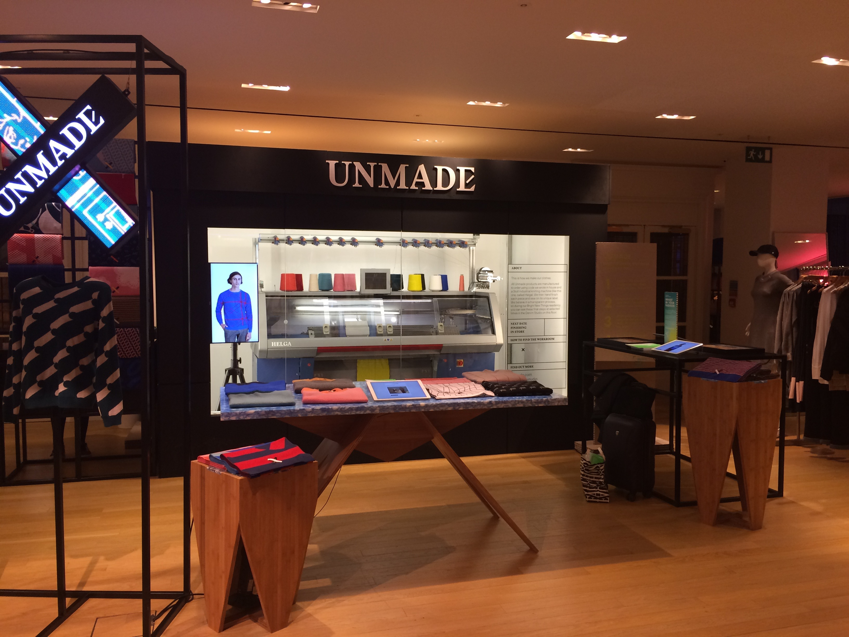 Unmade shop with Stoll knitting machine in Selfridges Oxford Street store.