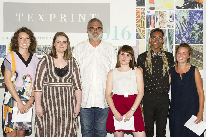 Winners of the 2016 Texprint Awards (L-R): Megan Clarke, Grace Lomas, Martin Leuthold, Chloe Frost, Jacob Monk and Isla Middleton. © Texprint