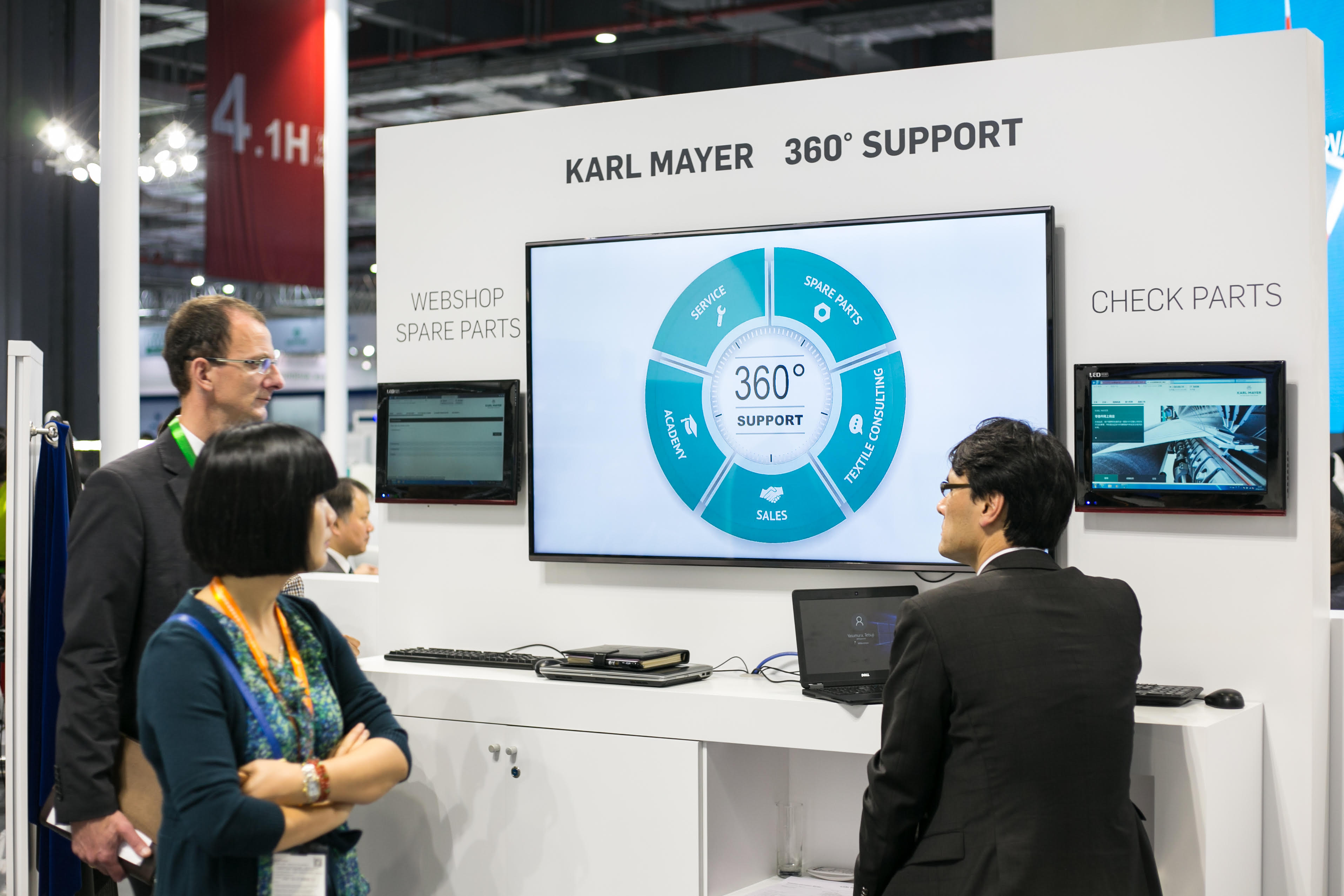 Presenting the Karl Mayer Webshop Spare Parts as a component part of the company's 360° technical support service at ITMA ASIA + CITME 2016. © Karl Mayer