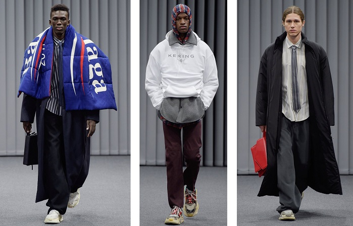 Balenciaga in Paris demonstrated mixing and matching tailoring with sportswear. © Balenciaga