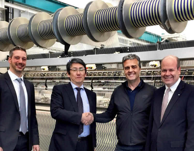 Kay Hilbert Head of Sales for Karl Mayer double needle bar machines, Hirokazu Takayama of Nippon Mayer, Cifra CEO Cesare Citterio and Oliver Mathews of Head of Sales at Karl Mayer's Warp Knitting Division.