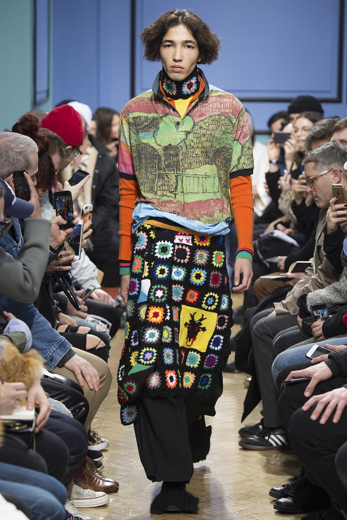 aad625035b815 JW Anderson using hand crotched pieces layered with tailoring and sports  inspired clothes. © JW