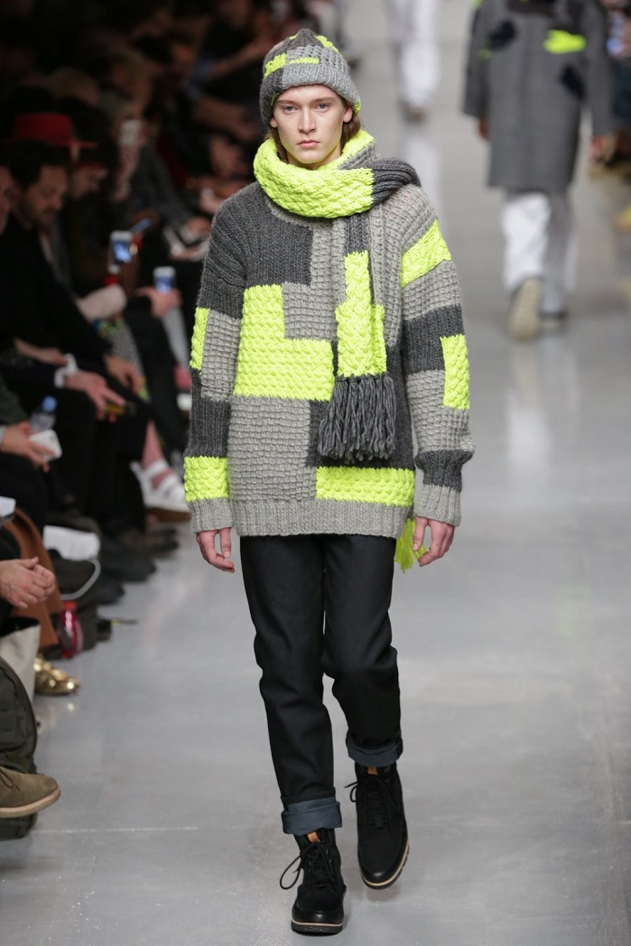 Christopher Raeburn from London Fashion Week Mens runway show uses all four trends in one: Soft Armour, Pick'n' mix the Mix and Match, wonky-geometrics and 3D. © Christopher Raeburn