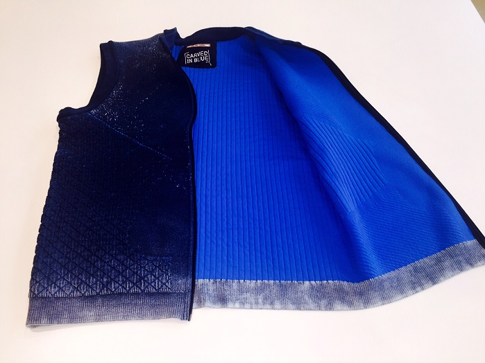 An innovative denim double-face quilted fabric produced by Santoni's double jersey circular knitting machine. © Santoni