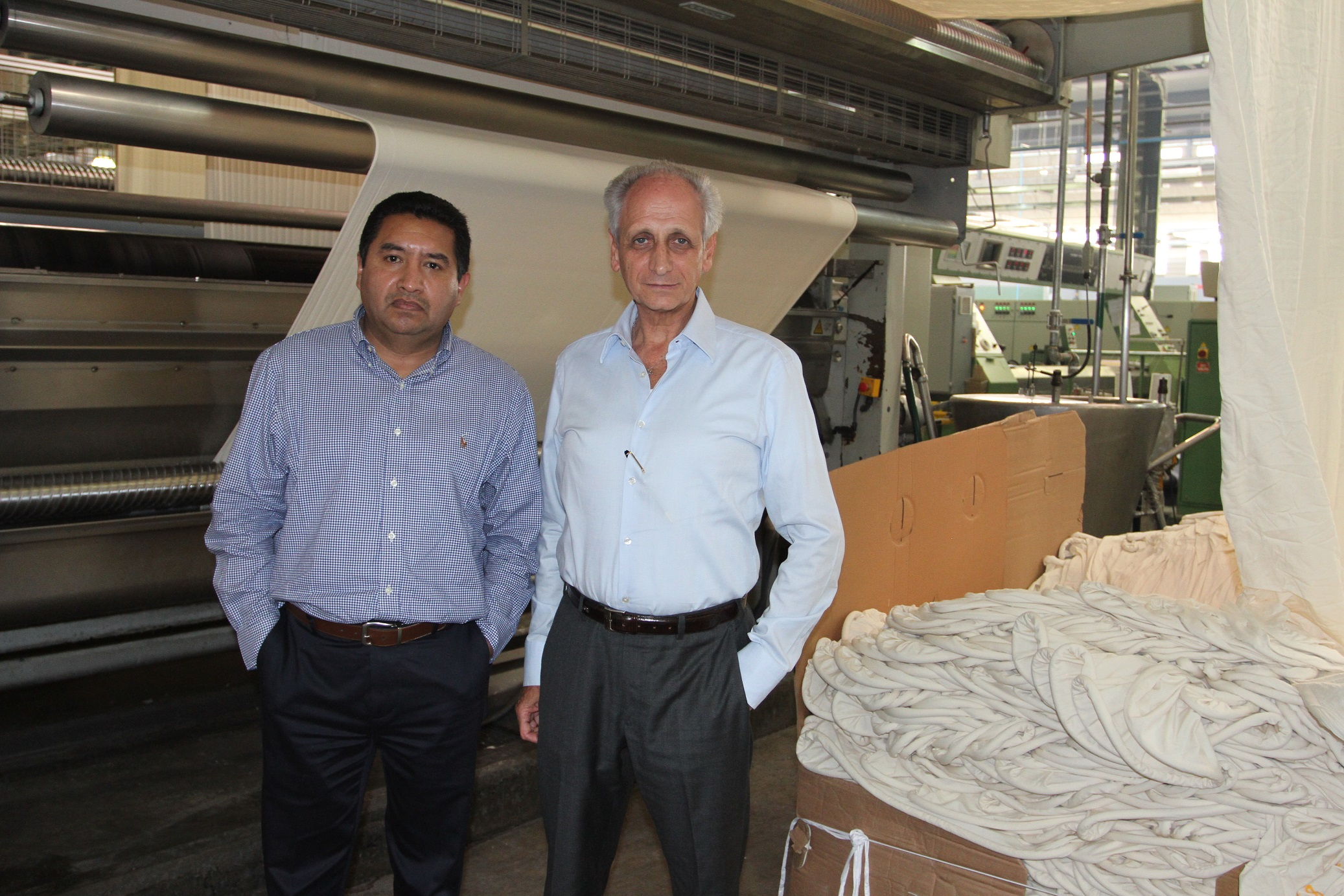 Left: Director of textile manufacturing Miguel Angel Perez Mejia; Right: Tizayuca Textil co-owner Salomon Romano
