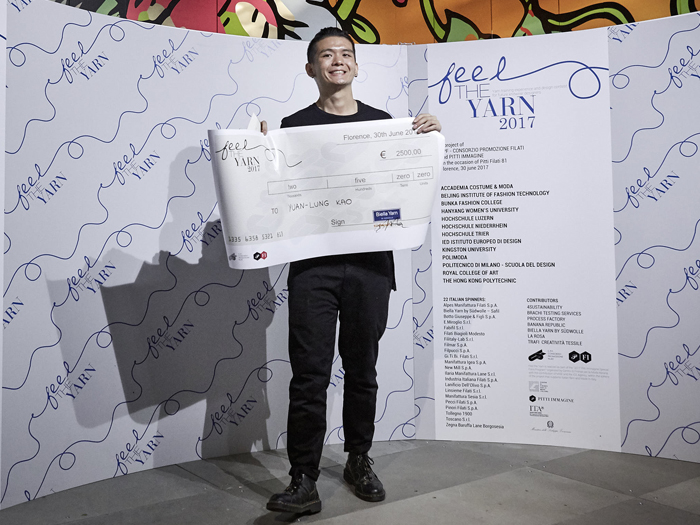 Yuan-Lung Kao, Royal College of Art, has won the eighth edition of Feel the Yarn. © Pitti Immagine Filati