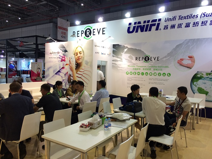 Unifi booth at Intertextile Shanghai Apparel Fabrics 2016. © Knitting Industry