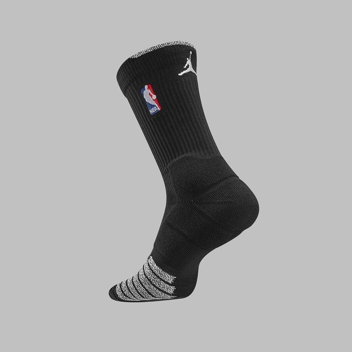 The Jumpman logo appears on the back top of the Jordan version of the NBA socks. © Nike