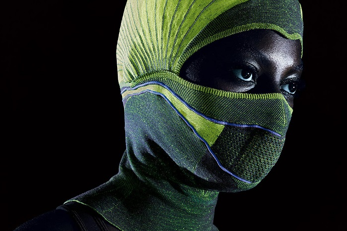 Stoll's new CMS ADF flat knitting technology engineers heating wires directly into the 3D structure of the balaclava. © H. Stoll AG & Co.