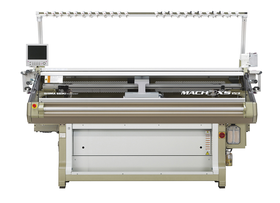The flagship MACH2XS series Wholegarment knitting machine features Shima Seiki's original SlideNeedle on four needlebeds as well as the patented spring-type sinker system.