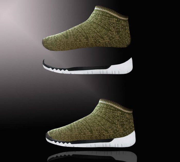 The 3D knitted shoe uppers are made in one piece. © Sandonini