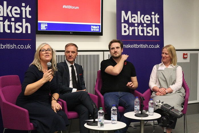 Left to right: Kate Hills, founder of Make it British; Bruce Montgomery, Menswear Consultant; Ross Barr-Hoyland, Ross Barr; and Charlotte Meek, The Stitch Society. © Knitting Industry