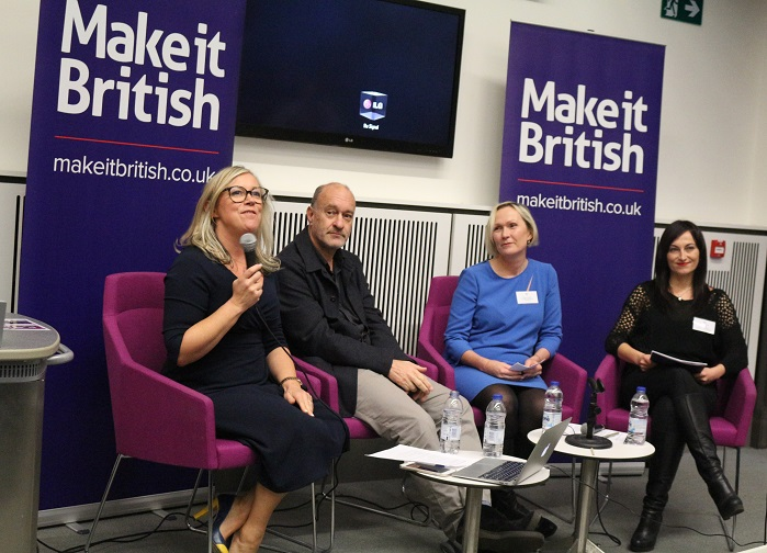 Left to right: Kate Hills, founder of Make it Brtish; Mike Stoll, Cooper Stollbrand Ltd and Private White V.C.; Senise Pearson, Deni-Deni; and Tanya Dimitrova, Tanya Dimitrova Sampling and Production. © Knitting Industry