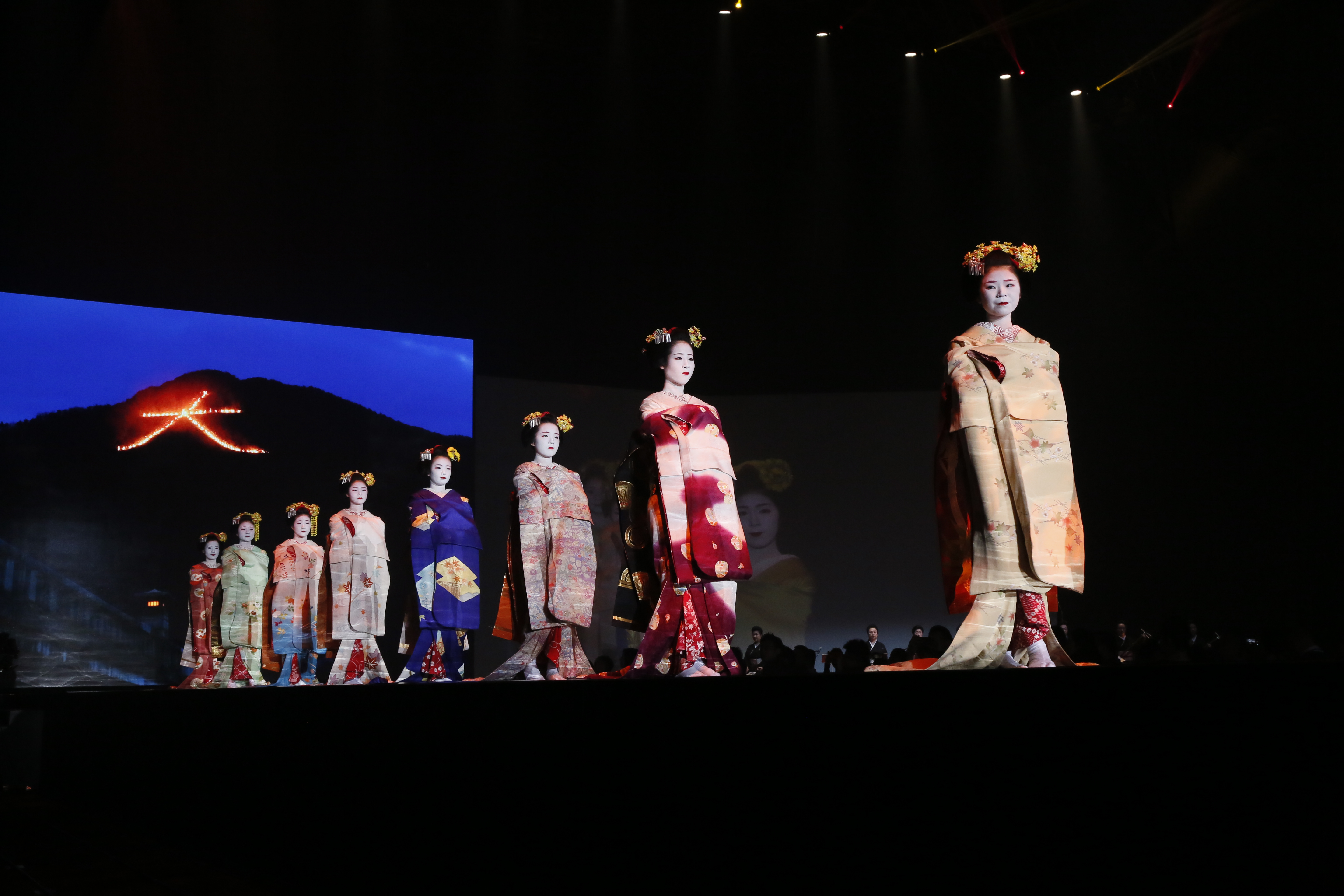 Guests also took part in a lavish feast with Japanese and international cuisine and were entertained with both traditional and modern Japanese song and dance and even a spectacular 'tuna preparation' performance, where tuna fish were prepared on stage for Japanese sashimi (c) SHIMA SEIKI..