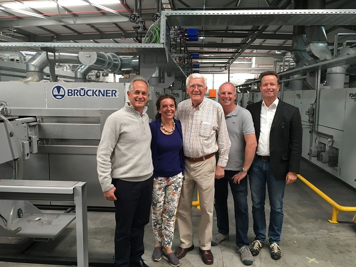 From left to right: Sam Schaffer (CEO and shareholder of Rotex), Regina Brückner (Owner Brückner), Siegfried Rohner (Director and Shareholder of Rotex), Martin Rohner (Technical Director Rotex), Axel Pieper (CTO Brückner). © Brückner Textile Technologies