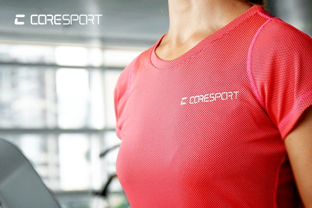 According to the company, the more you sweat, the cooler you feel with a CoreSport athletic shirt. © CoreSport