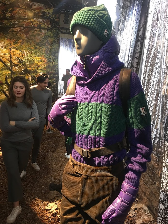 The 1970s thread of Pitti Uomo 93 brought in large cardigans, some loosely knitted, sloppy Joe sweaters, and many examples of large, varied yarn and stitch patchwork. © Janet Prescott