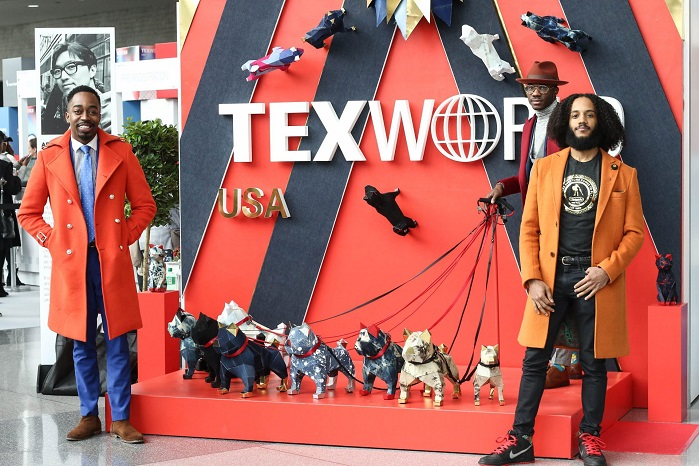 This year's show featured installation Denim Dogs created by artist, Moon Heemin showcasing intricate dog sculptures made of denim. © Messe Frankfurt/Texworld USA and Apparel Sourcing USA