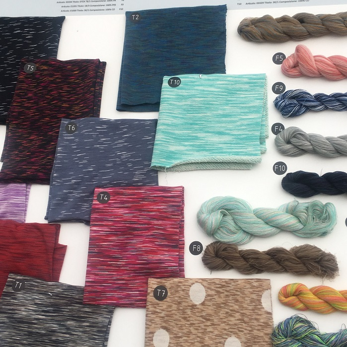 Knitting yarns principally featured cotton and linen as well as Tencel. © Janet Prescott