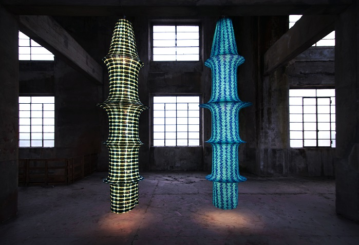 Luminous sculptures were born of a partnership between Lighting Designer Adriana Lohmann and Sensitive Fabrics by Eurojersey. © Eurojersey