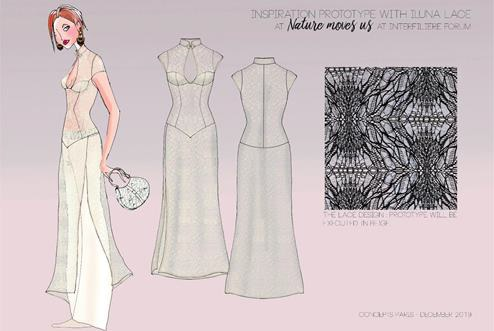 Extra-long lace dress by Iluna Group with Roica Eco-Smart family of sustainable yarns. © Iluna Group